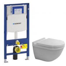 Комплект Geberit + Duravit 650.381.00.5: система инсталляции Duofix UP320 и унитаз Starck 3 с сидением
