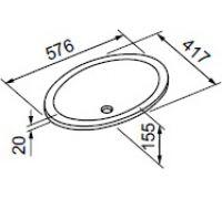 Раковина Gorenje 792153 UM 58.187 ROMEO 58 см