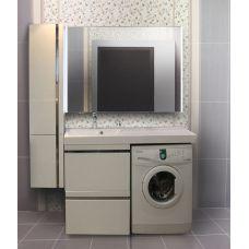 Мебель Lotos (Лотос) 130 см для ванной комнаты, подвесная, нерж. сталь под стиральную машину