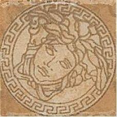 Итальянский керамический декор Versace (Версаче) Palace Medusa Beige 14636 2,8*2,8 см для ванной комнаты, кухни, прихожей, квартиры и дома