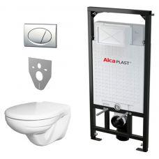 Комплект Alcaplast Set 5v1 А101+M71+M91+унитаз+сидение с микролифтом для ванной комнаты и туалета