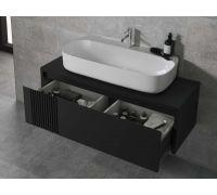 Arquitect Комплект мебели черный (тумба+раковина+донный клапан+зеркало+бра)